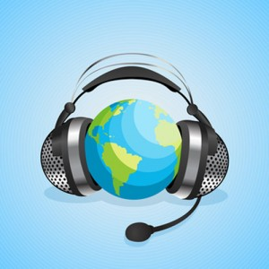 Conceptual graphic for online chat, worl communication with headphones over a globe. Abstract art